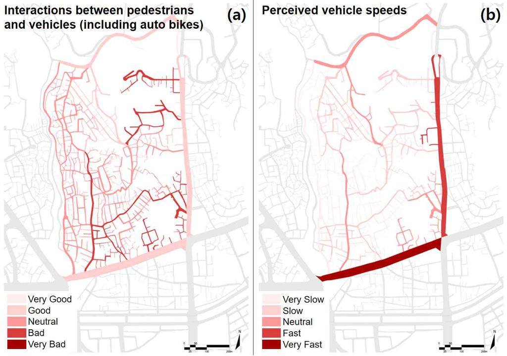 [Fig. 5] Interactions between pedestrians and vehicles(a) and Perceived