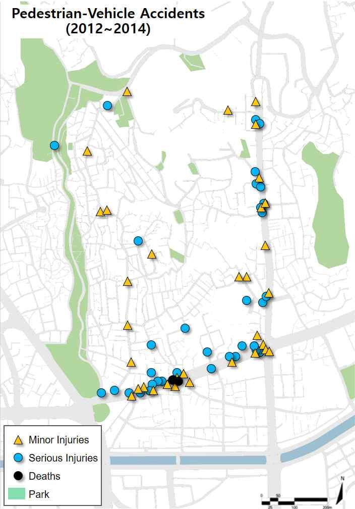 3] Pedestrian-vehicle accident locations (Source: http://taas.koroad.