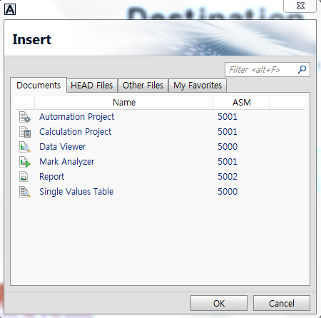 Destination Documents Data Viewer, Mark Analyzer, Report, Single Value Table HEAD Files - Head Data File(HDF) Head Data