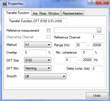 Analysis Transfer Function 1. Analysis Pool Insert Transfer function 2. Properties Reference channel 을 가진 채널로 지정 3. Method : 1.