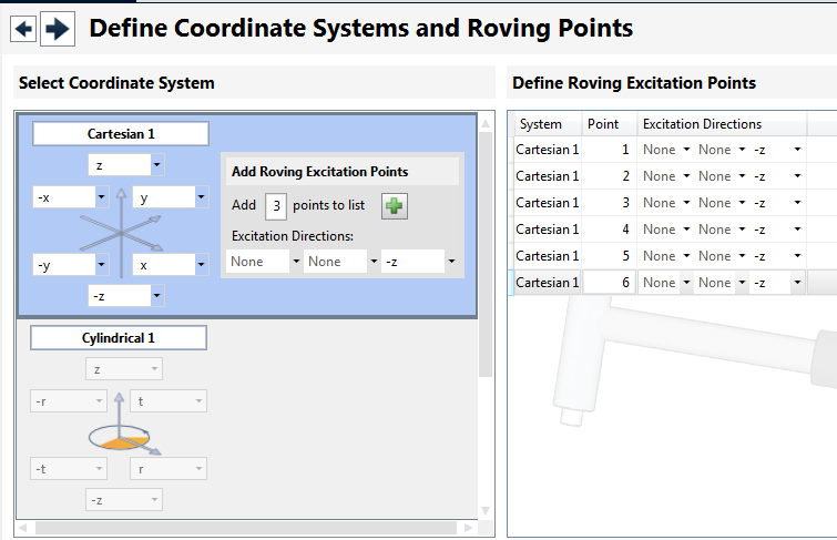 Define Coordinate Systems and Roving Points 응답 ( 가속도 센서 ) 가 고정 되어