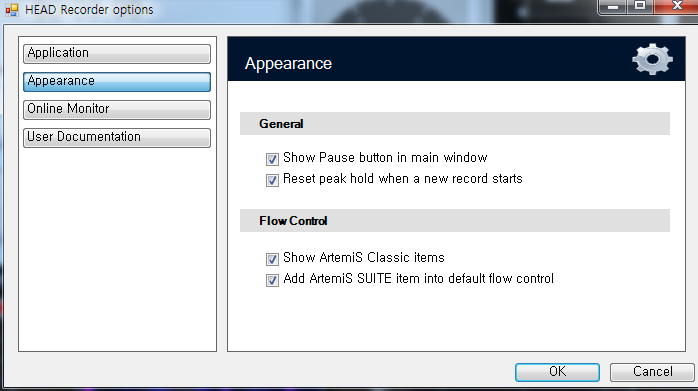 Option Appearance Show ArtemiS