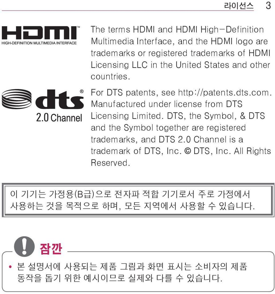 DTS, the Symbol, & DTS and the Symbol together are registered trademarks, and DTS 2.0 Channel is a trademark of DTS, Inc. DTS, Inc. All Rights Reserved.