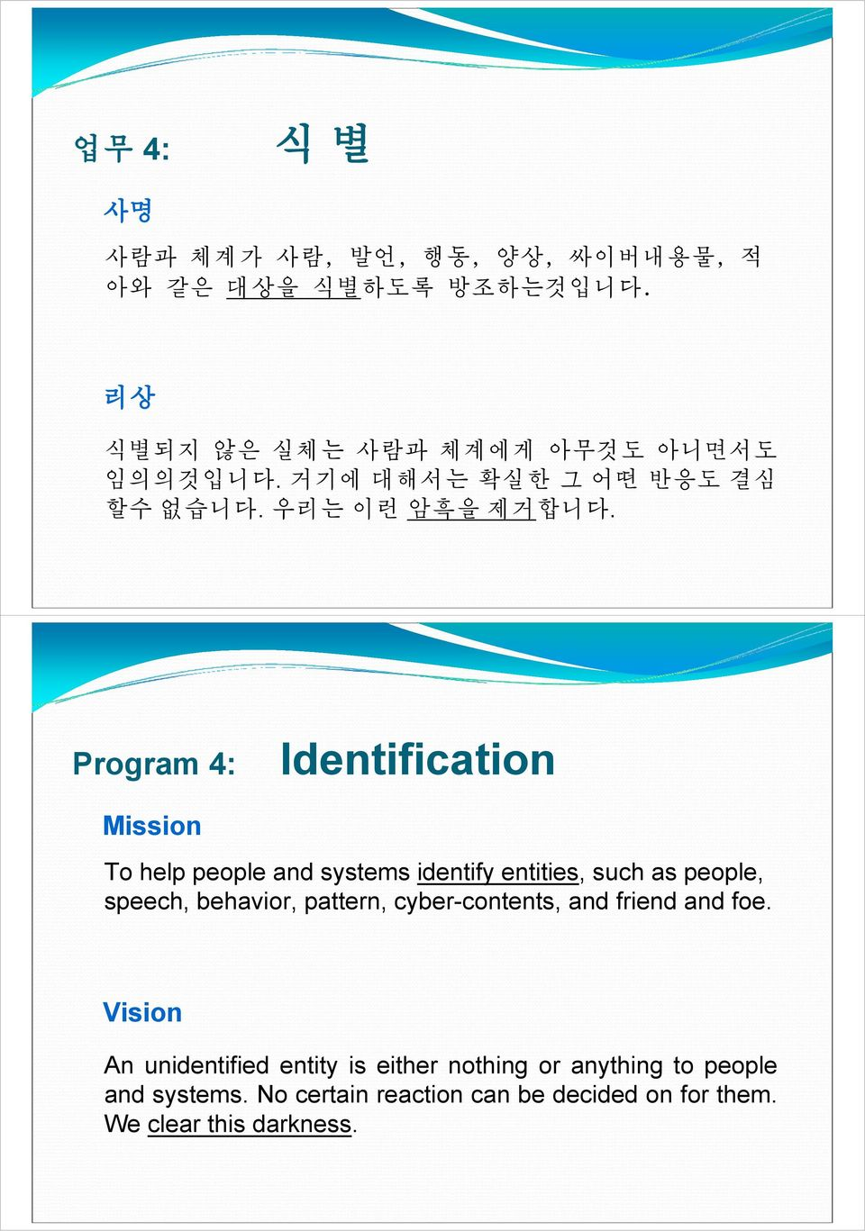 Program 4: Identification Mission To help people and systems identify entities, such as people, speech, behavior,