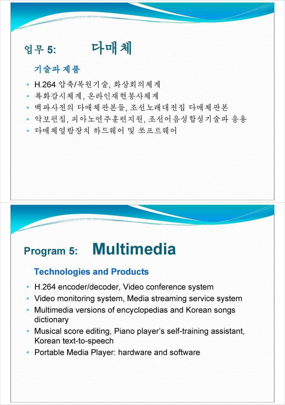 Program 5: Multimedia Technologies and Products H.