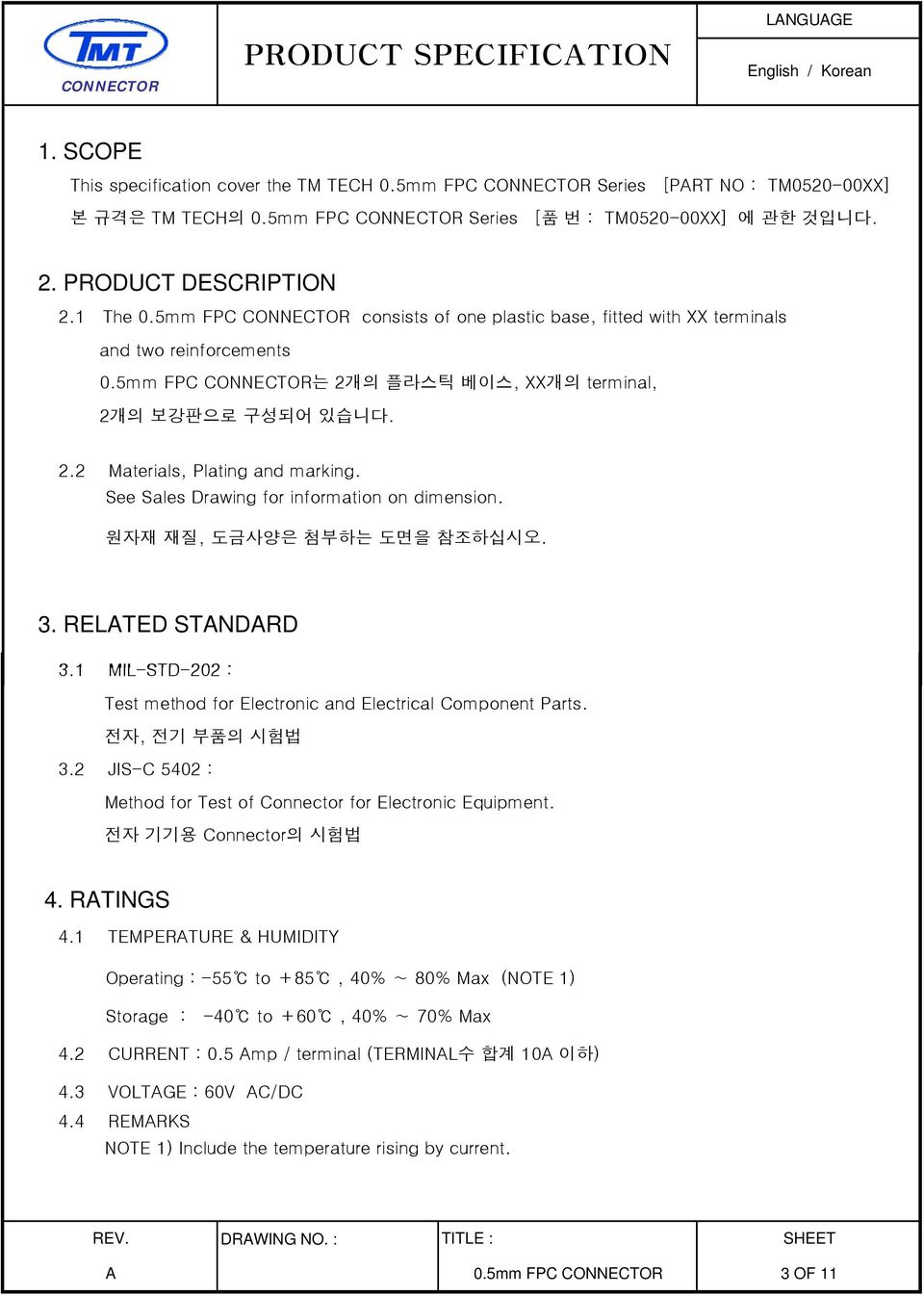 Connector product specification language english korean for Room design method nfpa 13