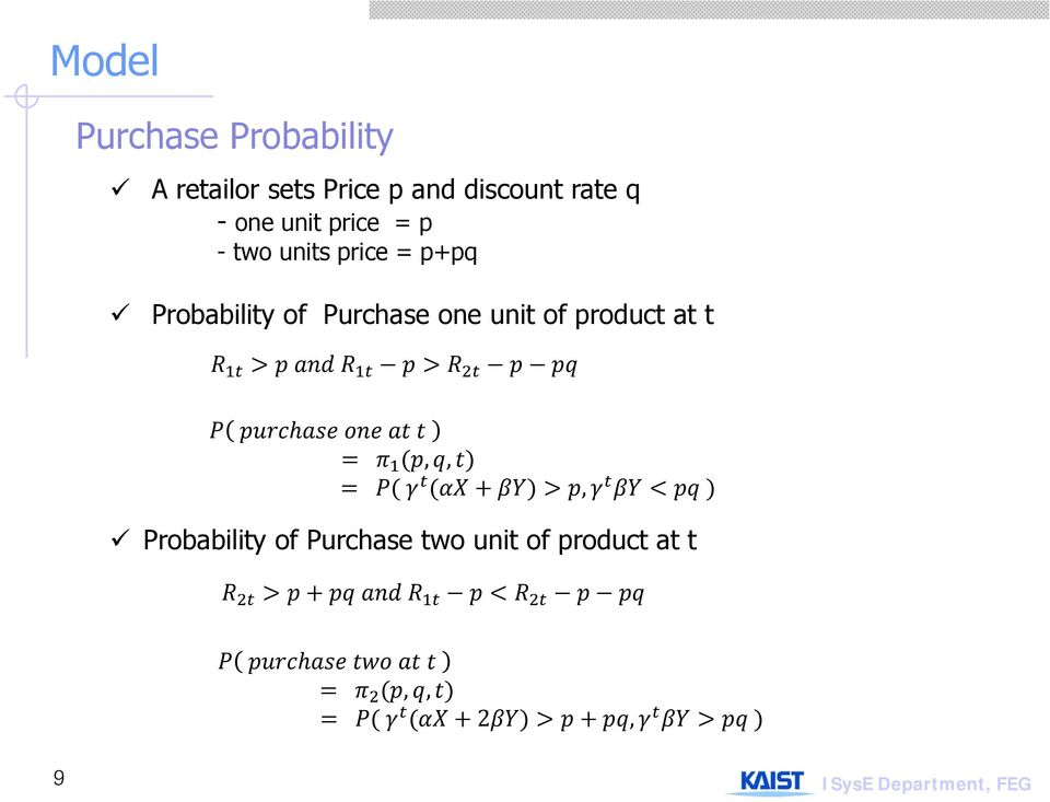 Probability of Purchase one unit of product at t,,, Probability