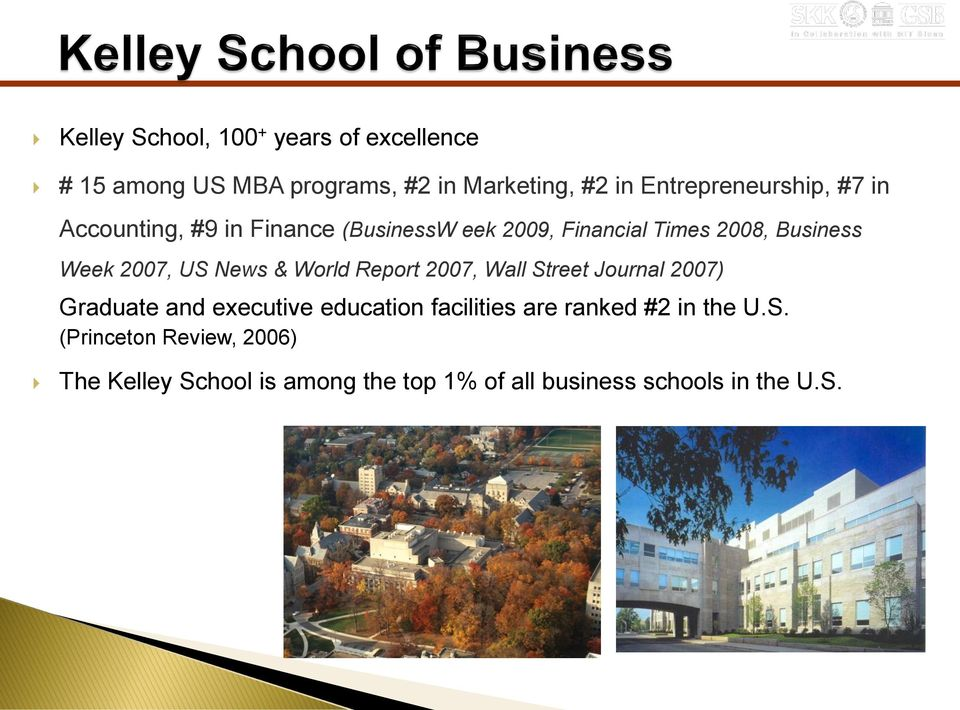 2007, US News & World Report 2007, Wall Street Journal 2007) Graduate and executive education facilities