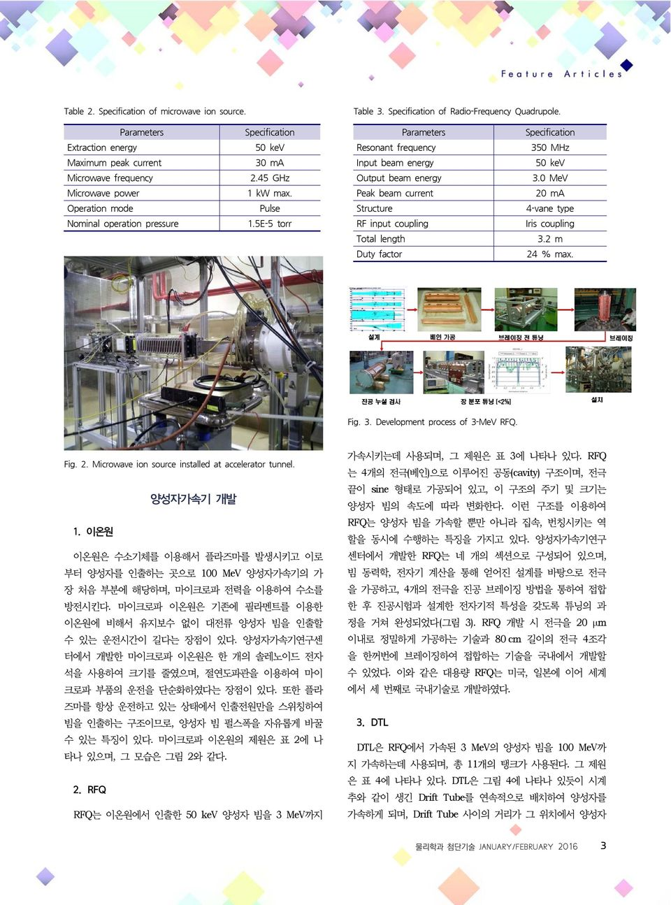 5E-5 torr RF input coupling Iris coupling Total length 3.2 m Duty factor 24 % max. Fig. 3. Development process of 3-MeV RFQ. Fig. 2. Microwave ion source installed at accelerator tunnel. 양성자가속기 개발 1.
