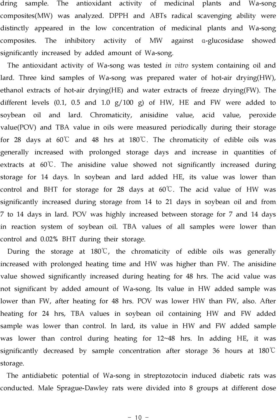 The inhibitory activity of MW against α-glucosidase showed significantly increased by added amount of Wa-song. The antioxidant activity of Wa-song was tested in vitro system containing oil and lard.
