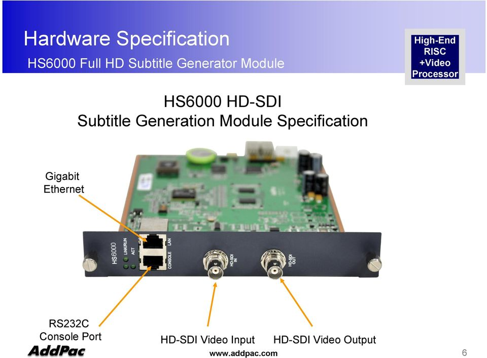 Generation Module Specification RS232C