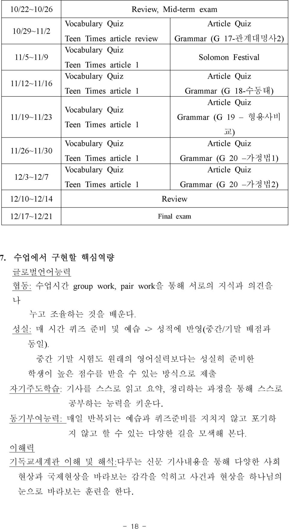 Times article 1 Grammar (G 20 가정법1) 12/3~12/7 Vocabulary Quiz Article Quiz Teen Times article 1 Grammar (G 20 가정법2) 12/10~12/14 Review 12/17~12/21 Final exam 7.