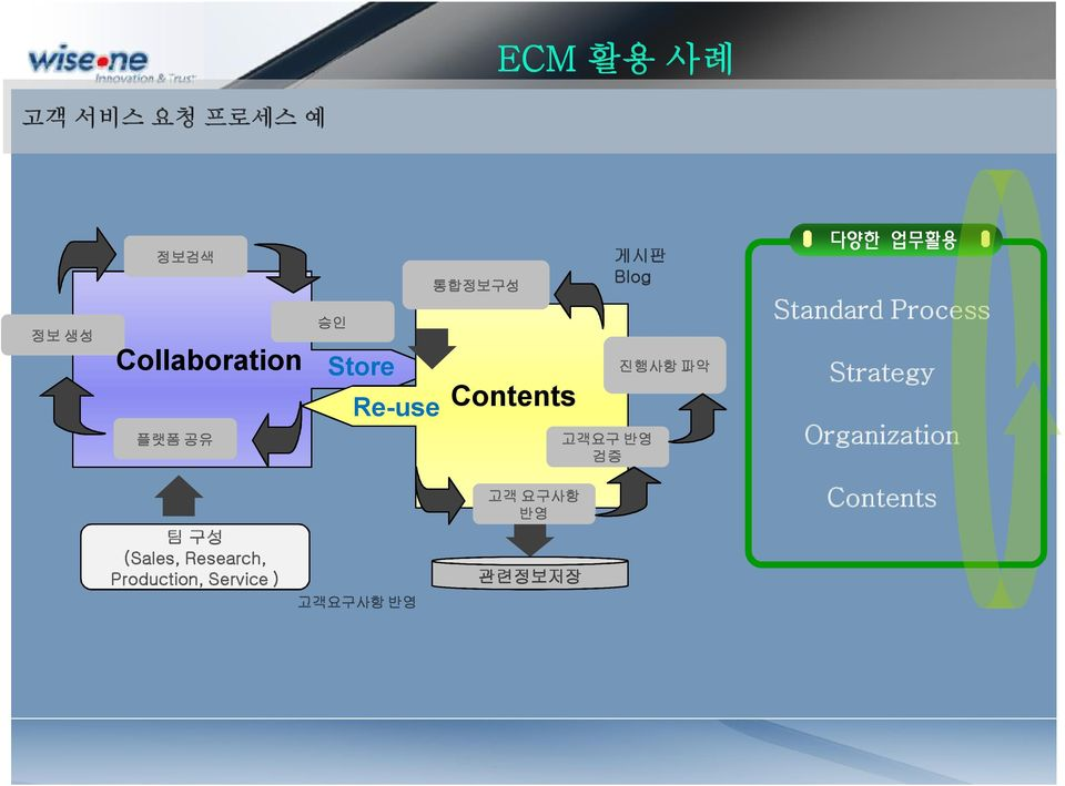 업무활용 Standard Process Strategy Organization 팀 구성 (Sales,