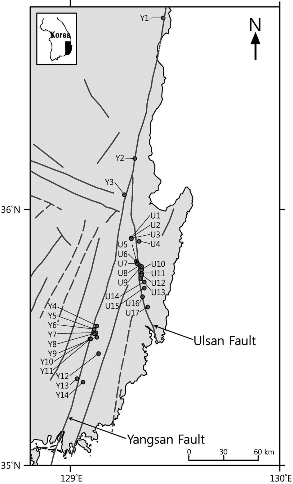 ûw û š ³ sƒ 189 Fig. 1. Locations of Late Quaternary faults along the Yangsan and Ulsan fault zones.