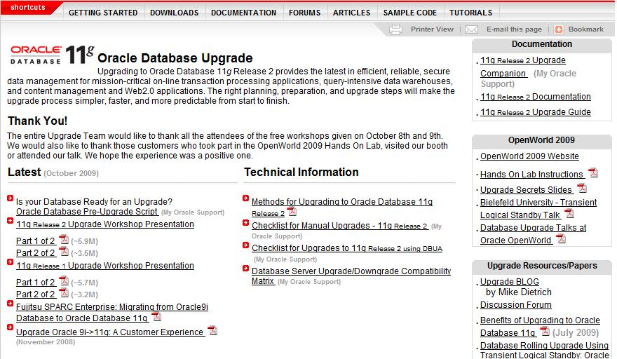 OTN Upgrade Page http://www.oracle.com/technology/products/database/oracle1 1g/upgrade/index.