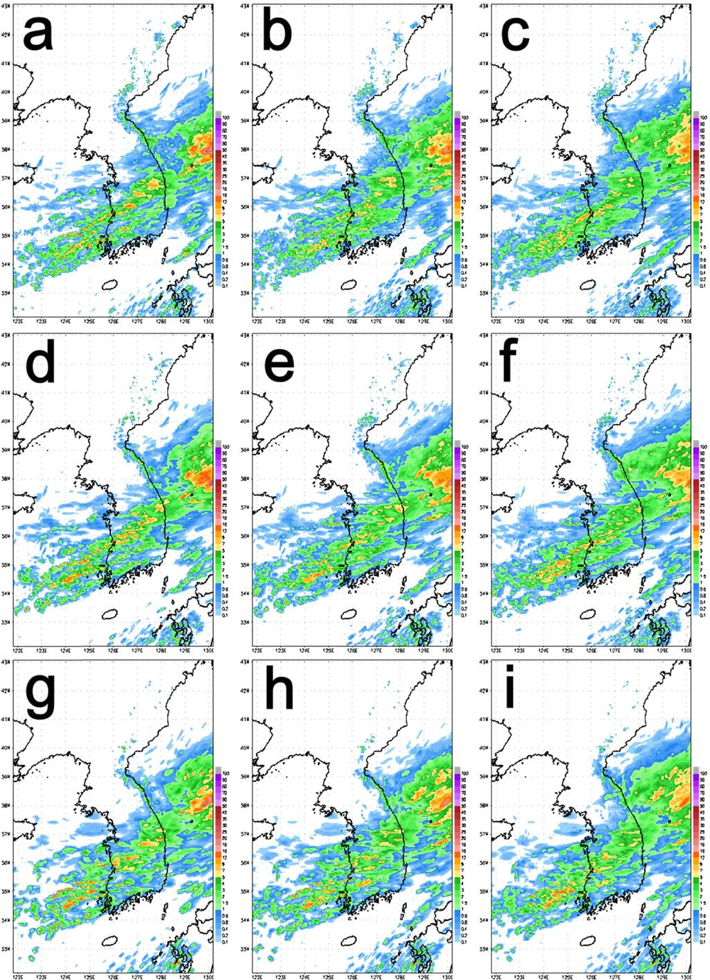 78 기상청 고해상도 국지 앙상블 예측 시스템 구축 및 성능 검증 Fig. 1. Ensemble mean of 1 hr accumulated precipitation forecasts for each member and resolution at 0000 UTC 13 Aug. 01 (top row: 1.