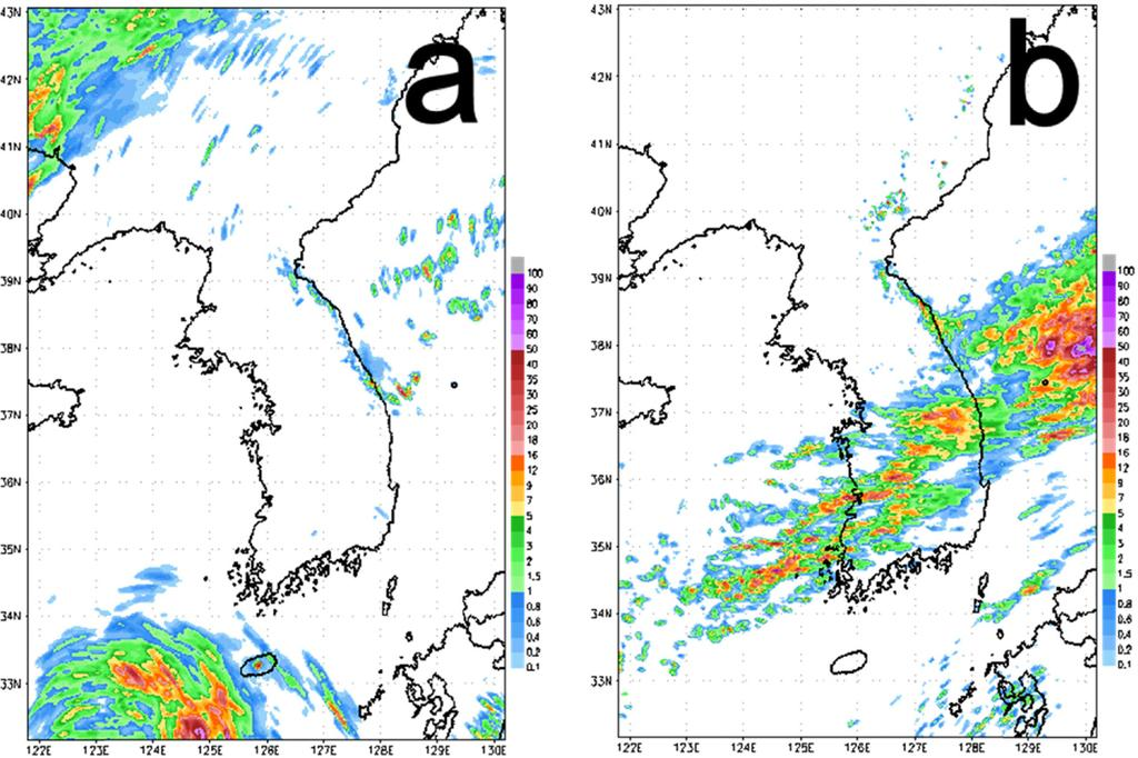 80 기상청고해상도국지앙상블예측시스템구축및성능검증 Fig. 14. PM mean of 1 hr accumulated precipitation forecast at (a) 0000 UTC and (b) 0000 UTC 13 Aug. 01. Fig. 15.