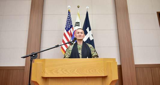 july 2018 11 2ID Chaplains Change Responsibility in Homeland (Above) Chaplain (Lt. Col.) Hyeonjoong Kim, incoming 2nd Infantry Division ROK-U.S.