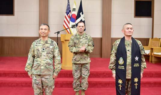 ) Hyeonjoong Kim during the Change of Stole Ceremony at the Warrior Chapel June 21. Chaplain (Lt. Col.
