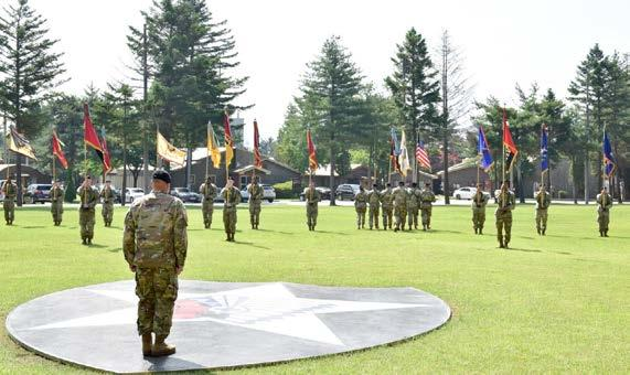 july 2018 17 Col. Brandon D. Newton, U.S. Army Garrison Camp Red Cloud and Area I commander, gives a speech during the U.S. Army Garrison Camp Red Cloud Inactivation Ceremony at the Village Green June 21.