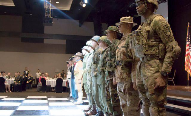 (Photo Credit: Pfc. Seo, Wonjin, Eighth Army Public Affairs) Soldiers wearing historic U.S. Army uniforms stand in line during the 243rd Army Birthday Ball at the SINTEX Convention Center in Hwaseong June 1.