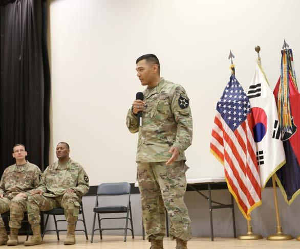 The ceremony marked the completion of the first-ever 2ID/ RUCD Battle Staff NCO course. Arnold describes his experience in BSNCOC as challenging but rewarding.