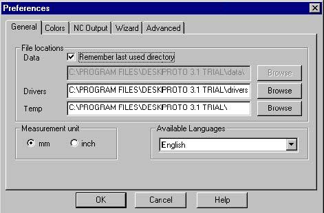 file. These default parameters will be stored in the Windows registry, and will be different for every user.