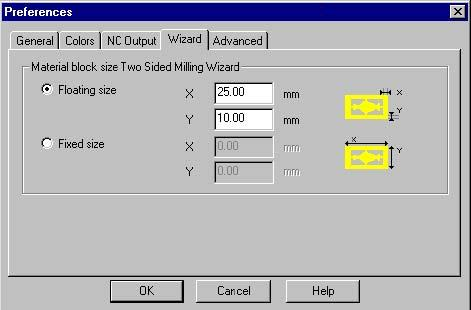 The tab page Wizard contains a preference that you can set for the Two Sided Milling Wizard: the size of the material block. Two options are available: -Floating size.