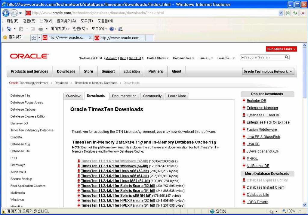 3.4 Oracle TimesTen In-Memory Database 11g Download Site